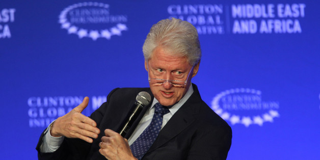 FILE - In this May 6, 2015, photo, former U.S President Bill Clinton speaks during a plenary session at the Clinton Global Initiative Middle East & Africa meeting in Marrakech, Morocco. The charitable foundation run by Hillary Rodham Clinton's family faces an uncertain future if she is elected president, with unresolved questions about who would be authorized to fundraise for the organization and whether new foreign and domestic projects could be started during that period.  (AP Photo/Abdeljalil Bounhar)