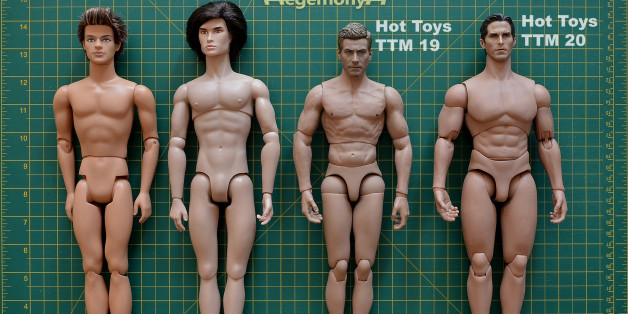 1/ 6 scale male dolls and action figures comparison photo - Ken Fashionista - Fashion Royalty Homme - Hot Toys TrueType Male Body TTM 19 Muscular Caucasian Version 12 inch figure - Hot Toys 1/6 True Type Basic Series TTM 20 Advanced Muscular Body Action Figure