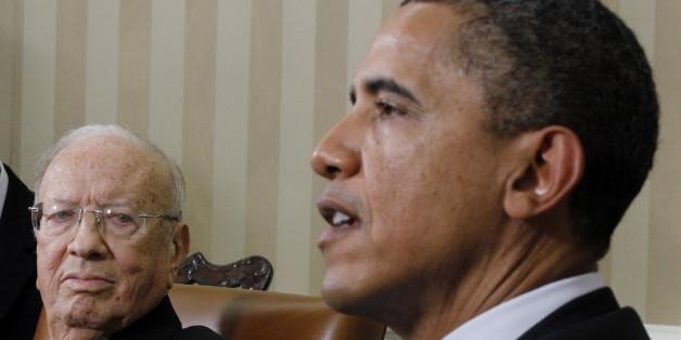Barack Obama et Béji Caïd Essebsi, lors de leur rencontre à Washington en 2011, Béji Caïd Essebsi était alors Premier ministre
