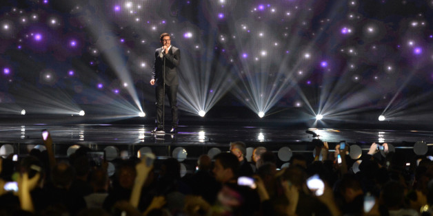 Cyprus' John Karayiannis performs the song 'One Thing I Should Have Done' during a dress rehearsal for the second semifinal of the Eurovision Song Contest in Austria's capital Vienna, Wednesday, May 20, 2015. (AP Photo/Kerstin Joensson)