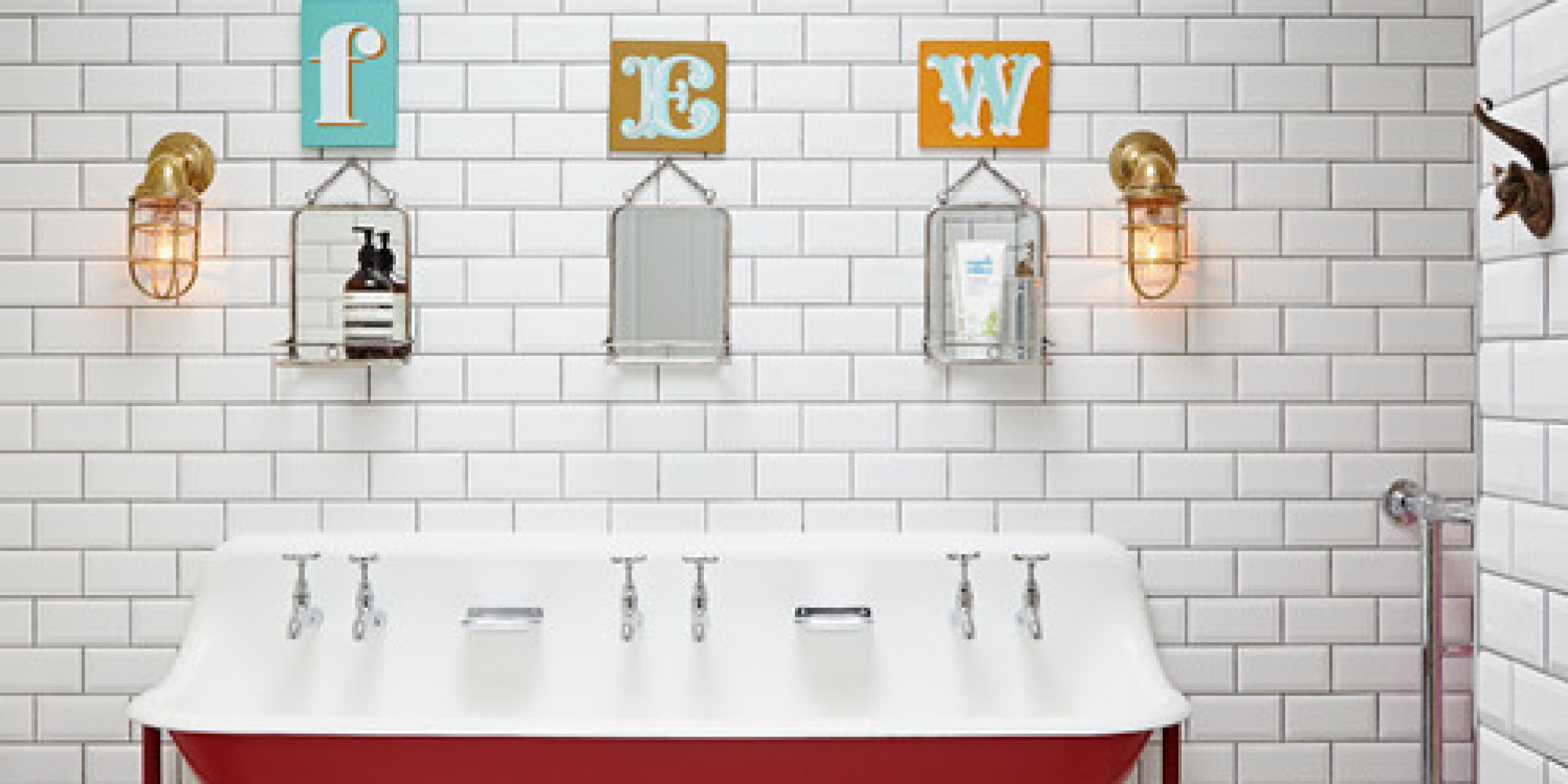 13 Colorful Ideas for Kids' Bathrooms | HuffPost on wallpaper powder bathroom, beach powder bathroom, houzz dining room,