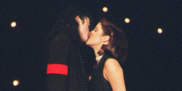 (FILES): This September 8, 1994 file photo shows US pop star Michael Jackson and his then wife Lisa-Marie Presley kissing on the stage of Radio City Music Hall in New York where they attended the MTV Video Music Awards.  Jackson died on June 25, 2009 after suffering a cardiac arrest, multiple US media outlets reported, sending shockwaves around the entertainment world.    AFP PHOTO / Files (Photo credit should read -/AFP/Getty Images)
