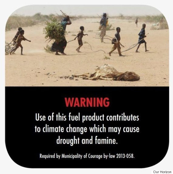 climate change warning label