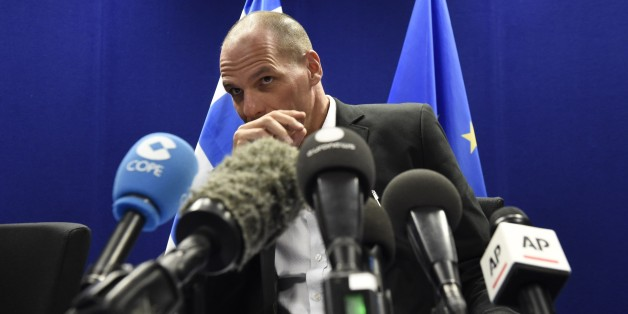Greek Finance Minister Yanis Varoufakis speaks during a press conference after a Eurogroup Council meeting on May 11, 2015 at the EU Headquarters in Brussels. AFP PHOTO/JOHN THYS        (Photo credit should read JOHN THYS/AFP/Getty Images)