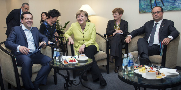 RIGA, LATVIA - MAY 21:  In this handout photo provided by the German Government Press Office (BPA), (L-R) German Chancellor Angela Merkel, Greek Prime Minister Alexis Tsipras and French President Francois Hollande at the beginning of their meeting at the sidelines of the EU summit The Eastern Partnership on May 21, 2015 in Riga, Latvia.  (Photo by Guido Bergmann/Bundesregierung via Getty Images)