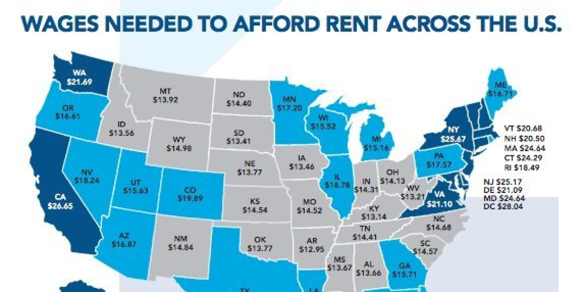 This Is The Hourly Wage You Need To Afford A 2 Bedroom Apartment Around The  U.S. | HuffPost