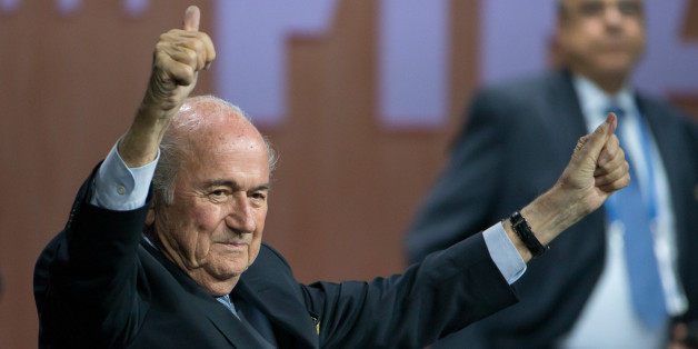 ZURICH, SWITZERLAND - MAY 29: FIFA President Joseph S. Blatter celebrates his election during the 65th FIFA Congress at Hallenstadion on May 29, 2015 in Zurich, Switzerland. (Photo by Philipp Schmidli/Getty Images)