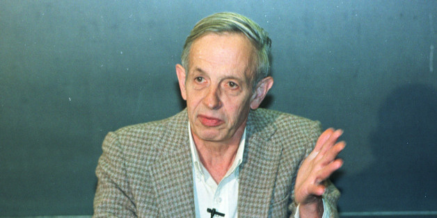 After being named the winner of the Nobel Peace Prize for economics, Princeton University professor John Nash speaks during a news conference at the University in Princeton, N.J. Oct. 11, 1994. (AP Photo/Charles Rex Arbogast)