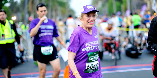 SAN DIEGO, CA - JUNE 01:  91 year old Marathon Participant Harriette Thompson participates in the Suja Rock 'n' Roll San Diego Marathon & Half Marathon to benefit the Leukemia & Lymphoma Society on June 1, 2014 in San Diego, California. Harriette beat the world record for her age group and is the 2nd oldest marathon finisher.  (Photo by Jerod Harris/Getty Images for Rock 'n' Roll Marathon Series)