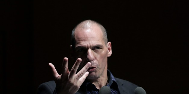 Greek Finance Minister Yanis Varoufakis gives a speech during a financial conference in Athens, on Tuesday, May 19, 2015. Market anxiety eased in Greece on Tuesday after the country's finance minister said he was confident of reaching a deal with bailout creditors as soon as next week.(AP Photo/Petros Giannakouris)