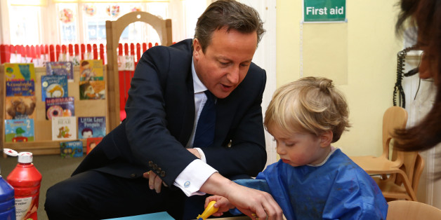 """Prime Minister David Cameron paints with vegetables during a visit to a children's nursery in London, as Mr Cameron admitted it will """"take time"""" to get plans to double free childcare provision right amid warnings the system faces """"meltdown"""" unless the changes are fully funded."""