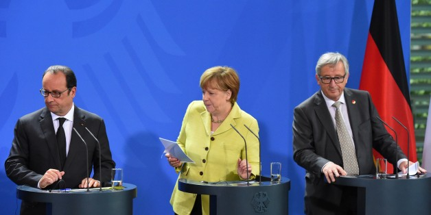 (L-R) French President Francois Hollande, German Chancellor Angela Merkel and European Commission President Jean-Claude Juncker leave a press conference prior to talks with representatives of the of the European Round Table of Industrialists (ERT) on June 1, 2015 at the Chancellery in Berlin. The mini-summit brings the leaders of the eurozone's two biggest economies together with around 20 heads of large European companies to discuss the Greek debt crisis, the threat of Britain leaving the EU and economic challenges. AFP PHOTO / TOBIAS SCHWARZ        (Photo credit should read TOBIAS SCHWARZ/AFP/Getty Images)