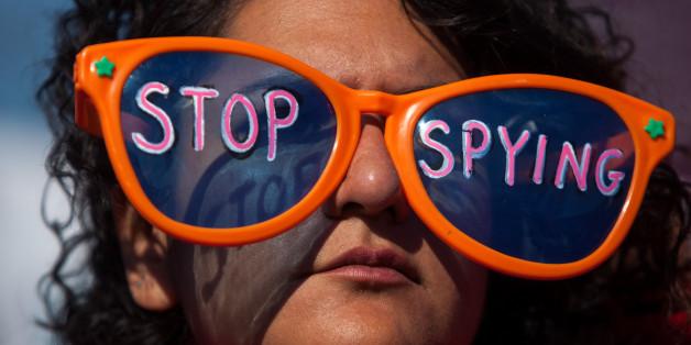 Eine Demonstration von NSA-Gegnern