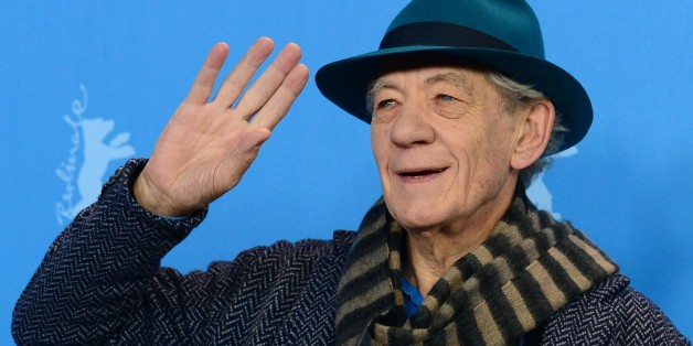 British actor Sir Ian McKellen poses for photographers during a photocall of the film 'Mr Holmes' presented in the competition of the 65th Berlin International Film Festival Berlinale in Berlin, on February 8, 2015.    AFP PHOTO / JOHN MACDOUGALL        (Photo credit should read JOHN MACDOUGALL/AFP/Getty Images)