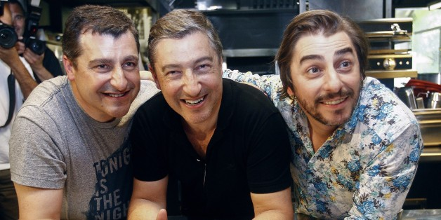 Spanish chefs of 'El Celler de Can Roca' Joan Roca (C), Jordi Roca (R) and Josep Roca (L) pose at their restaurant in Girona on June 2, 2015. Spain's 'El Celler de Can Roca' was crowned the world's best restaurant on June 1, 2015 winning praise for the 'collective genius' of the three brothers who run it. It was the second time the Girona eatery has topped the World's 50 Best Restaurant awards in London, after taking the number one spot in 2013.   AFP PHOTO/ QUIQUE GARCIA        (Photo credit should read QUIQUE GARCIA/AFP/Getty Images)