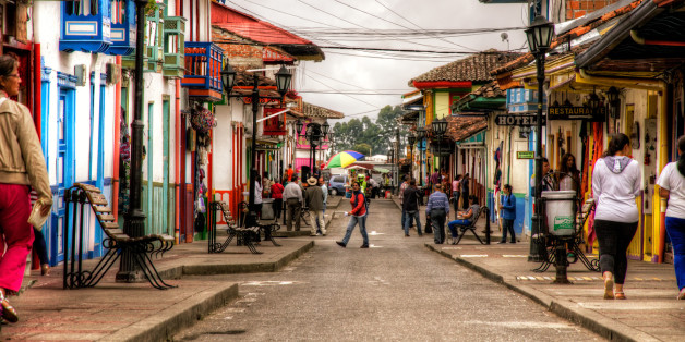 Street in Salento, in Quindio, Colombia.  Salento is a very nice town in the coffee region of Colombia, quite touristy, with nice hotels and many nice buildings.  HDR from three handheld shots, blended in Photomatix, tonemapped with Details Enhancer and post-processed in Photoshop.