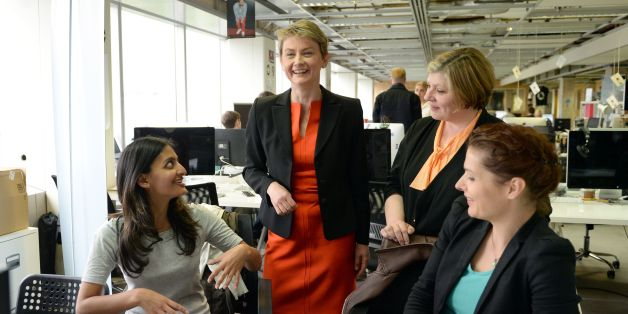 Labour MP and candidate for leader of the Labour Party, Yvette Cooper, meets young entrepreneurs at Tech City UK in London, where she officially launched her campaign for leader.