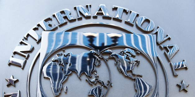 The logo of the International Monetary Fund (IMF) is seen shortly after Christine Lagarde, Managing Director, spoke on the US economy during a press conference June 14, 2013 at IFM headquaraters in Washington, DC.     AFP PHOTO/Paul J. Richards        (Photo credit should read PAUL J. RICHARDS/AFP/Getty Images)