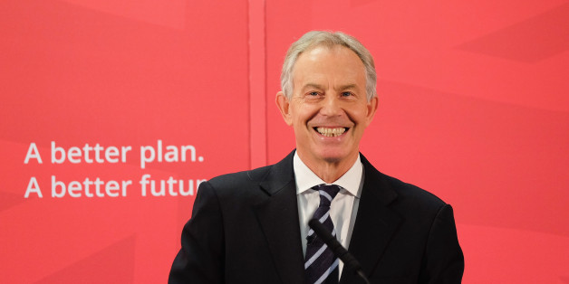 SEDGEFIELD, ENGLAND - APRIL 07:  Former British Prime Minister and former Labour MP for Sedgefield, Tony Blair gives a speech to waiting party members ahead of a visit to the construction site for the new Hitachi Trains Europe factory on April 7, 2015 in Sedgefield, England. The visit came as part of Labour's campaign build up ahead of the General Election on May 7 which is predicted to be Britain's closest national election.  (Photo by Ian Forsyth/Getty Images)