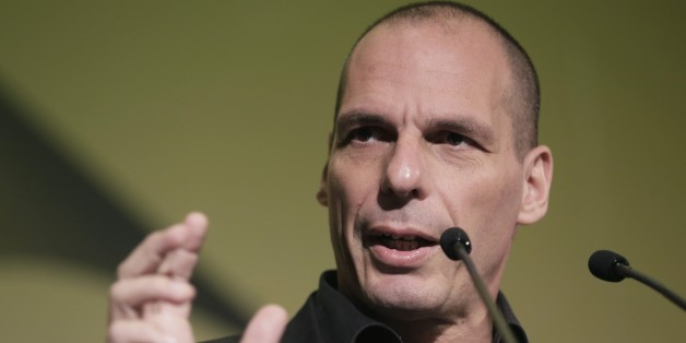 Greek Finance Minister Yanis Varoufakis gives a speech during an economic conference in Athens, on Tuesday, May 14, 2015.  Varoufakis said Thursday that he will reject any deal with bailout creditors unless it helps Greece escape from its financial crisis.  (AP Photo/Petros Giannakouris)