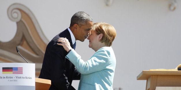 KRUEN, GERMANY - JUNE 07:  U.S. President Barack Obama and German Chancellor Angela Merkel greet each other at the summit of G7 nations on June 7, 2015 in Kruen, Germany. In the course of the two-day summit G7 leaders are scheduled to discuss global economic and security issues, as well as pressing global health-related issues, including antibiotics-resistant bacteria and Ebola. Several thousand protesters have announced they will seek to march towards Schloss Elmau and at least 17,000 police are on hand to provide security.  (Photo by Goran Gajanin - Pool/Getty Images)