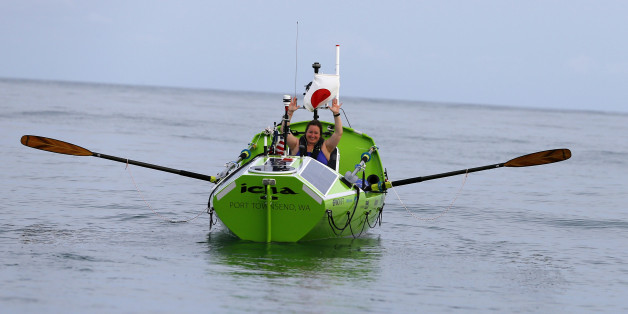 American rower Sonya Baumstein, from Orlando, Fla., waves as she leaves Choshi Marina in Choshi, a port east of Tokyo, headed for San Francisco Sunday, June 7, 2015. Baumstein hopes to finish the 9,600-kilometer (6,000-mile) journey by late September and become the first woman to row solo across the Pacific in the 23-foot (7-meter) -long vessel. (AP Photo/Shizuo Kambayashi)