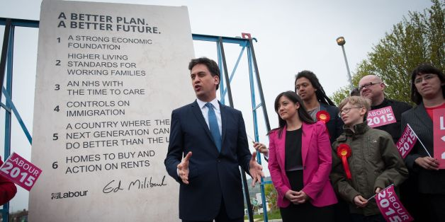 File photo dated 02/05/15 of Labour leader Ed Miliband with Labour's pledges stone plinth during General Election campaigning, as the large stone slab emblazoned with key Labour pledges that went on to symbolise the party's election failure before disappearing from public view has been discovered at a warehouse in London.