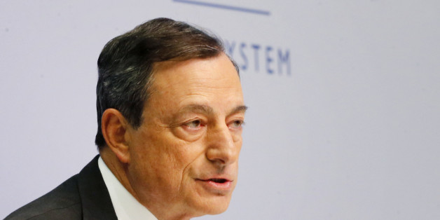 President of European Central Bank Mario Draghi speaks during a news conference in Frankfurt, Germany, Wednesday, June 3, 2015,  following a meeting of the ECB governing council. (AP Photo/Michael Probst)