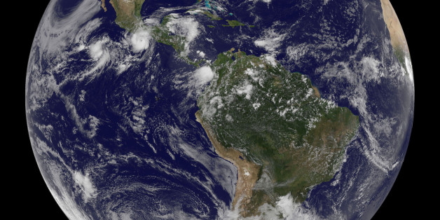 Picture yourself on the Moon looking down at the Earth, and if you're looking at it from the perspective of NOAA's GOES-13 satellite, you see the eastern Pacific Ocean. The thing that strikes you most is Hurricane Carlotta, located off the southwestern coast of Mexico today, June 16, 2012.The GOES-13 satellite, known more formally is the Geostationary Operational Environmental Satellite (GOES-13), is a geostationary satellite that monitors the weather over the eastern U.S. Geostationary means th