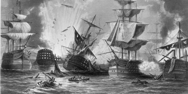 20th October 1827:  The Battle of Navarino during the Greek War of Independence, where the Turkish and Egyptian forces were defeated by the combined fleets of Great Britain, France and Russia. Original Artwork: Engraving by J Godfrey after J Rrammage  (Photo by Hulton Archive/Getty Images)