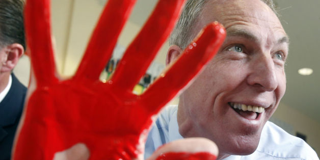 Jim Murphy painting with nursery school children while on the general election campaign trail.