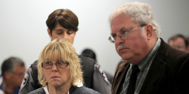PLATTSBURGH, NY - JUNE 15:  Joyce Mitchell (L) appears with her lawyer Stephen Johnston before Judge Buck Rogers in Plattsburgh City Court on June 15, 2015 in Plattsburgh, New York. Mitchell allegedly  aided inmates Richard Matt and David Sweat in their escape from Clinton Correctional Facility. They were discovered missing the morning of June 6.  (Photo by G.N. Miller - Pool/Getty Images)