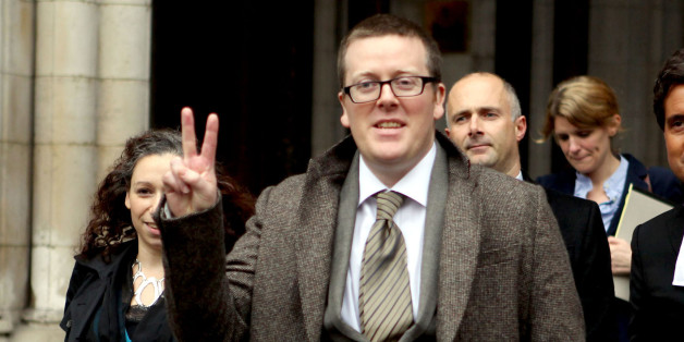 Comedian Frankie Boyle leaves the high Court after winning more than more than £54,000 damages today after a High Court jury concluded that he had been libelled by the Daily Mirror.
