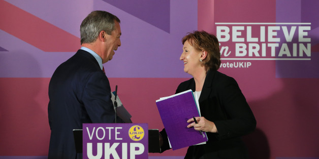 Ukip Leader Nigel Farage with Suzanne Evans in April