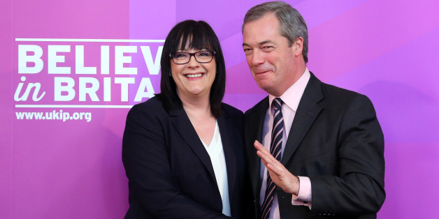 Ukip health spokesman Louise Bours MEP (left) is congratulated by party leader Nigel Farage after delivering a speech at Rochester Corn Exchange in Kent, after Mr Farage insisted that the NHS will be completely free at the point of access for British citizens as he outlined Ukip's plan to invest an extra 3 billion a year in the health service.