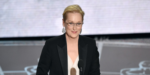 Meryl Streep presents the in memoriam tribute at the Oscars on Sunday, Feb. 22, 2015, at the Dolby Theatre in Los Angeles. (Photo by John Shearer/Invision/AP)