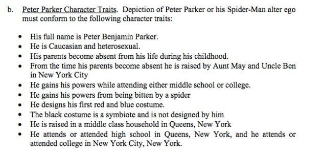 spiderman criteres