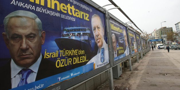 "A billboard on a main street by the Ankara municipality to thank Turkish Prime Minister Recep Tayyip Erdogan reads: "" We are grateful to you "" in Ankara, on March 25, 2013, three days after Israeli Prime Minister Benjamin Netanyahu apologized to Turkey over the death of nine Turkish citizens on board a Gaza-bound flotilla in 2010. AFP PHOTO/ADEM ALTAN        (Photo credit should read ADEM ALTAN/AFP/Getty Images)"