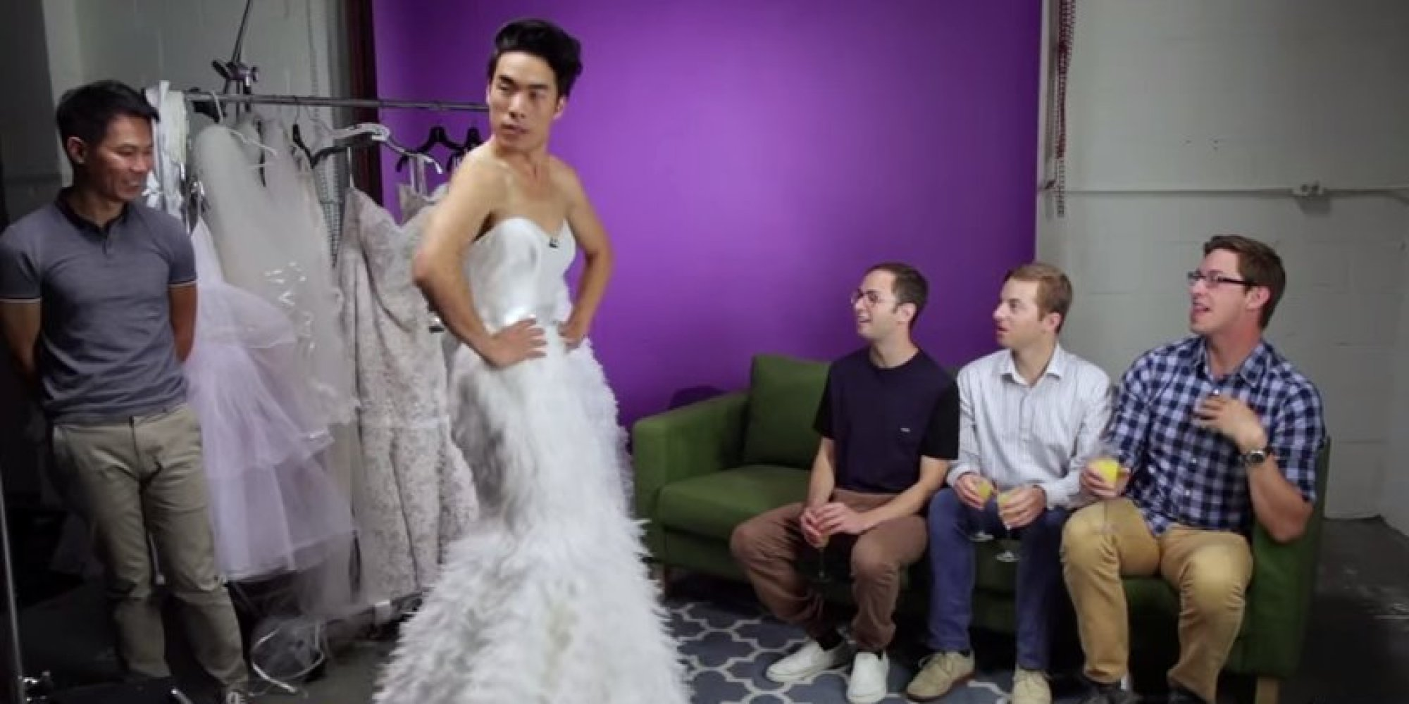 This Is What Happens When Guys Try On Wedding Dresses | HuffPost
