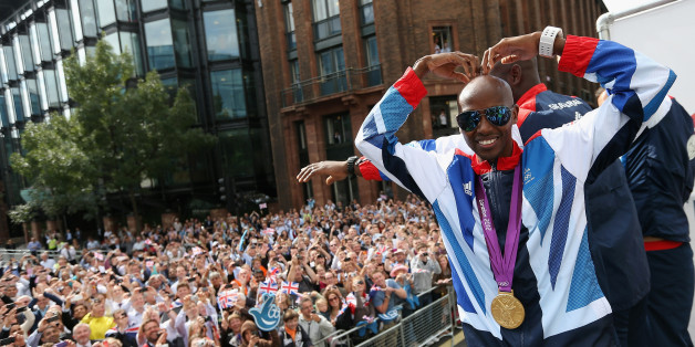 Mo Farah performs a mobot during the London 2012 Victory Parade for Team GB and Paralympic GB athletes