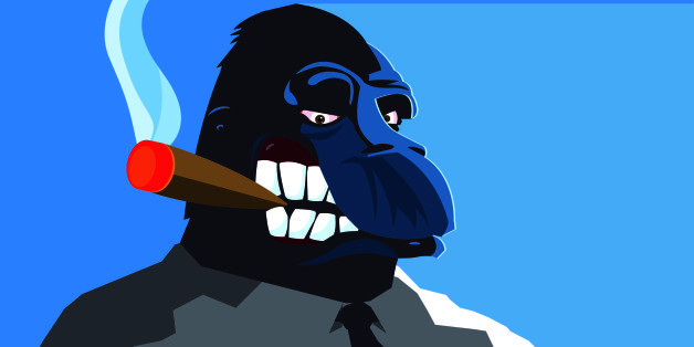 A bossy gorilla smoking a big cigar.