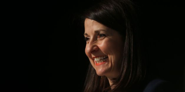 Labour leadership contender Liz Kendall address delegates at the annual conference of the GMB union in Dublin.