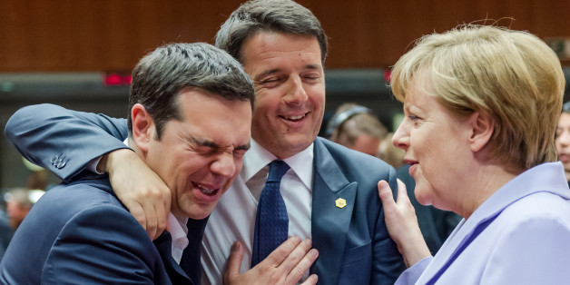 Italian Prime Minister Matteo Renzi, center, speaks with Greek Prime Minister Alexis Tsipras, left, and German Chancellor Angela Merkel during a round table meeting at an EU summit in Brussels on Thursday, June 25, 2015. Greece and its creditors launched a new round of talks in Brussels early Thursday in a fresh bid to unlock billions of euros in loans and save the country from bankruptcy. (AP Photo/Geert Vanden Wijngaert)