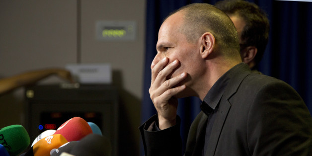 Greek Finance Minister Yanis Varoufakis listens to questions during a media conference after a meeting of eurogroup finance ministers in Brussels on Saturday, June 27, 2015. Anxiety over Greece's future swelled on Saturday after Prime Minister Alexis Tsipras' call to have the people vote on a proposed bailout deal. (AP Photo/Virginia Mayo)