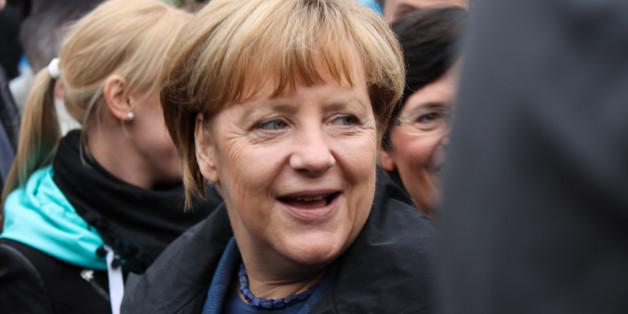 Angela Merkel beim Abschluss des Thüringer Landtagswahlkampfes am 13. September 2014 in Apolda.