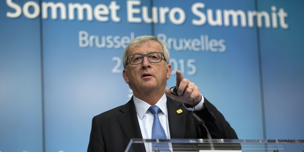 European Commission President Jean-Claude Juncker speaks during a media conference at an EU summit in Brussels on Monday, June 22, 2015. Eurozone finance ministers were cautiously optimistic on Monday that a deal on Greece's bailout was finally within reach this week, amid fears the country might otherwise default on its debts and fall out of the euro. (AP Photo/Virginia Mayo)