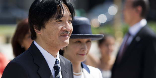 Prince Akishino and his wife Princess Kiko attend a wreath laying ceremony in homage to Argentina's national hero Gen. Jose de San Martin in Buenos Aires, Argentina,  Friday, Jan. 31, 2014. The royal couple is on a three-day visit to Argentina. (AP Photo/Victor R. Caivano)