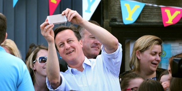 Prime Minister David Cameron takes a selfie the Tour de Yorkshire cycle race passes through Addingham in West Yorkshire.