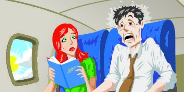 Man on a plane terrified of flying