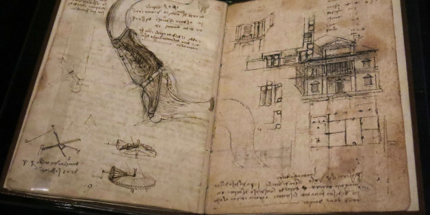 "Leonardo da Vinci's ""Codex on the Flight of Birds"" is displayed at the ""Leonardo da Vinci y la idea de la belleza"" (Leonardo and the idea of beauty) exhibit at the Palacio de Bellas Artes in Mexico City on Wednesday, June 24, 2015. The Exhibition will be open from June 26 to August 23. The Codex shows some of Leonardo's studies about aerodynamics and taxonomy. (AP Photo/Berenice Bautista)"